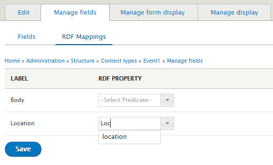 RDF UI Manage Fields